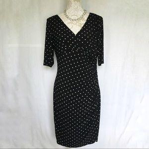 LRL // Black Star Print Elbow Sleeve Midi Dress 12